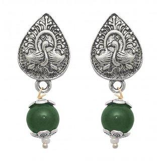 The99Jewel by JewelMaze Zinc Alloy Silver Plated Green Pearl Drop Earrings-FAC0435