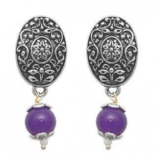The99Jewel by JewelMaze Zinc Alloy Silver Plated Purple Pearl Drop Earrings-FAC0443