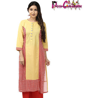 DESI CHHOKRI Red  Yellow Cotton Straight Kurti for Women