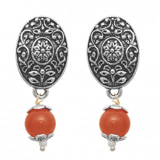The99Jewel by JewelMaze Silver Plated Zinc Alloy Orange Pearl Drop Earrings-FAC0446