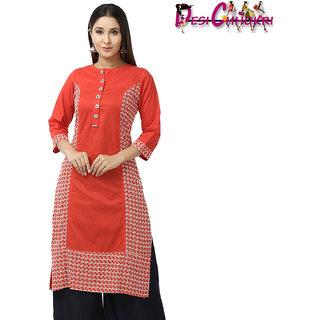 DESI CHHOKRI Red Cotton Straight Kurti for Women