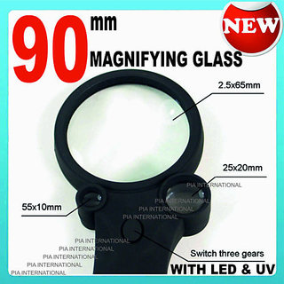 (90MM) 2.5X 4.5X 25X 55X MAGNIFYING GLASS WITH UV & 4LED LIGHT