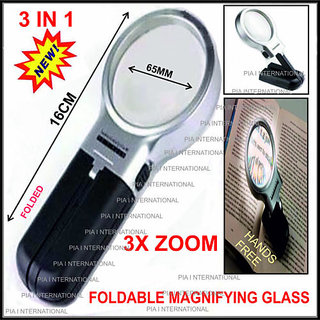 3X Multifunction Hand Held + Hands Free Magnifier w/ LED Light