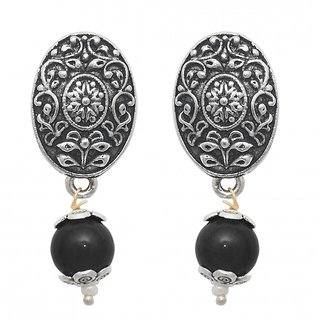 The99Jewel by JewelMaze Zinc Alloy Black Pearl Silver Plated Drop Earrings-FAC0447