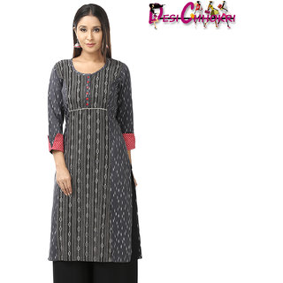 DESI CHHOKRI Grey Cotton Straight Kurti for Women