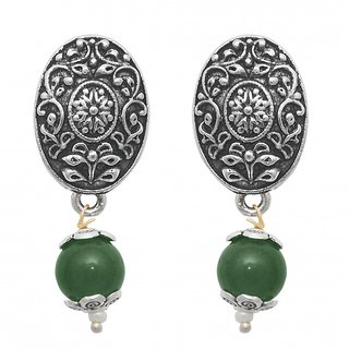 The99Jewel by JewelMaze Zinc Alloy Silver Plated Green Pearl Drop Earrings-FAC0449