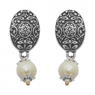 The99Jewel by JewelMaze Zinc Alloy White Pearl Silver Plated Drop Earrings-FAC0450