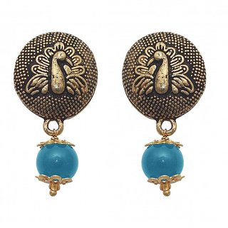 The99Jewel by JewelMaze Zinc Alloy Gold Plated Blue Pearl Drop Earrings-FAC0452