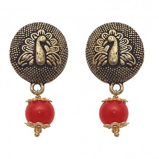 The99Jewel by JewelMaze Zinc Alloy Red Pearl Gold Plated Drop Earrings-FAC0454