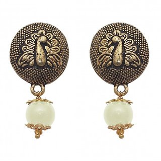 The99Jewel by JewelMaze Gold Plated Zinc Alloy White Pearl Drop Earrings-FAC0457