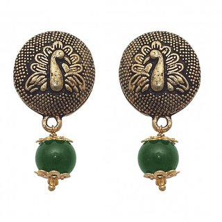 The99Jewel by JewelMaze Gold Plated Zinc Alloy Green Pearl Drop Earrings-FAC0459