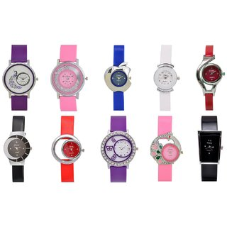 GLORY designer womens watches combo of 10 pc (free metal cluch for little girl) by miss
