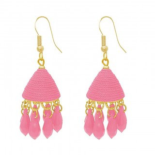 The99Jewel by JewelMaze Pink Thread Gold Plated Zinc Alloy Drop Jhumki Earrings-FAC0482
