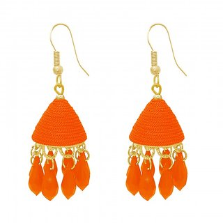 The99Jewel by JewelMaze Zinc Alloy Orange Thread Gold Plated Drop Jhumki Earrings-FAC0483