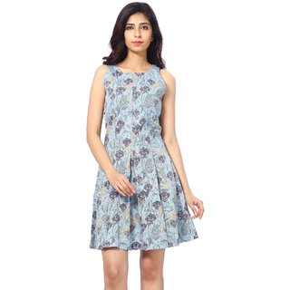 Abony Blue Denim Printed Dress