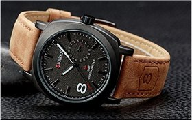 Curren Black Round Dial Tan Leather Strap Casual Analog Watch For Men (CURREN 8139)