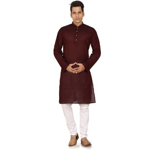 Maroon Cotton Plain Kurta Pyjama