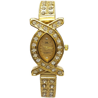 Golden Round Dial Gold Analog Watch For Women by miss