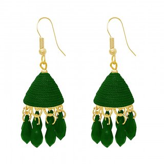 The99Jewel by JewelMaze Zinc Alloy Green Thread Gold Plated Drop Jhumki Earrings-FAC0487