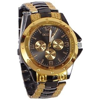 TRUE CHOICE FAST SELLING Rosra Watch for men with Black dial  Golden Watch By InstaDeal