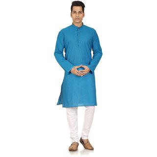 Blue South Cotton Kurta Pyjama For Men's