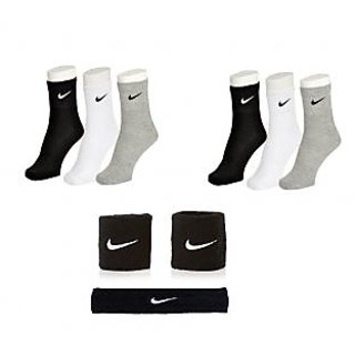 Ankle Length Sports Socks-6 Pairs with Head Band  Pair of Wrist Band