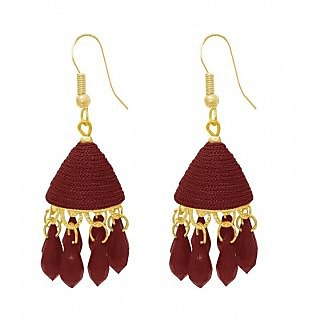 The99Jewel by JewelMaze Brown Thread Gold Plated Drop Jhumki Earrings-FAC0488