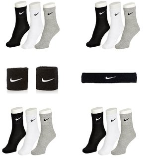 Ankle Length Sports Socks-12 Pairs with Head Band  Pair of Wrist Band