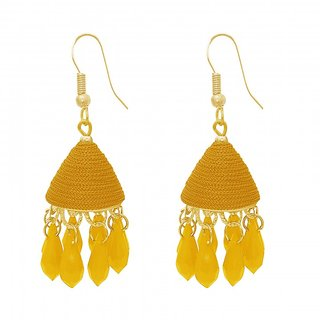 The99Jewel by JewelMaze Zinc Alloy Yellow Thread Gold Plated Drop Jhumki Earrings-FAC0489
