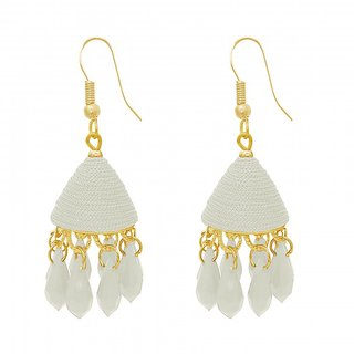The99Jewel by JewelMaze White Thread Gold Plated Drop Jhumki Earrings-FAC0490