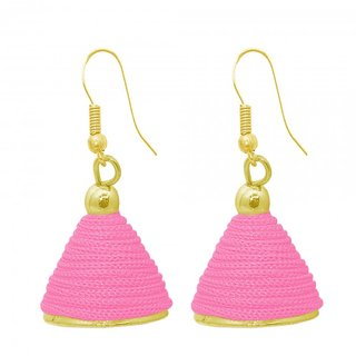 The99Jewel by JewelMaze Pink Thread Gold Plated Jhumki Earrings-FAC0491