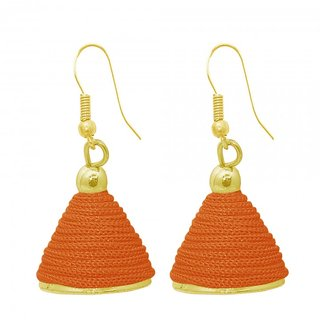 The99Jewel by JewelMaze Gold Plated Orange Thread Jhumki Earrings-FAC0492