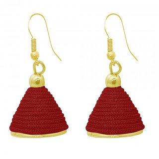 The99Jewel by JewelMaze Zinc Alloy Maroon Thread Gold Plated Jhumki Earrings-FAC0495