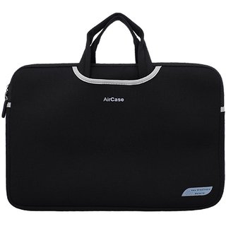 AirCase 15.6 inch Designer Neoprene Protective Handle Sleeve for Laptops CARBON BLACK