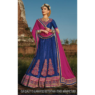 Blue Color Net With Embroidery Work Semi-Stitched Lehenga Choli