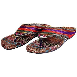 Halowishes Women Traditional Multi Color Ethnic Flat Chappal - WFWHW122-9