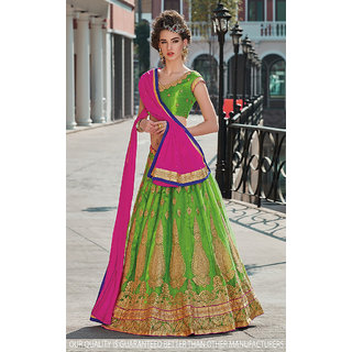 Green Color Net With Embroidery Work Semi-Stitched Lehenga Choli