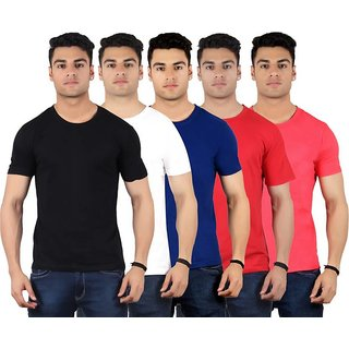Red Code Half Sleeves Round Neck T-shirts for Mens (Pack of 5)