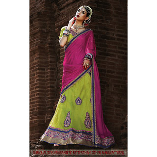 Light Green Color Net With Embroidery Work Semi-Stitched Lehenga Choli