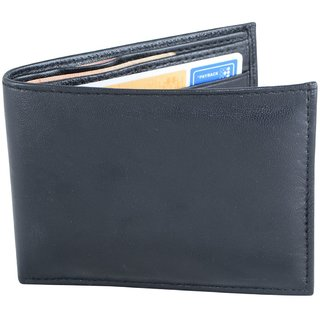 Holboro Mens Black Genuine Leather Bifold Wallet + Free 7 Pcs Twin Blade Disposable Razors