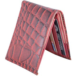 Holboro Mens Crocodile Embossed Genuine Leather Bifold Wallet + Free 7 Pcs Twin Blade Disposable Razors
