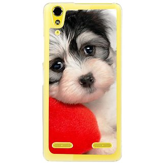 Fuson Designer Phone Back Case Cover Lenovo A6000 ( Puppy With Pillow )