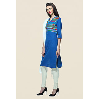 Aurelia Blue Stitched Striped Cotton Kurti for Women