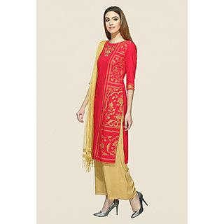 Aurelia Red Stitched Striped Cotton Kurti for Women