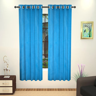 Lushomes Blue Art Silk Window Curtain with Polyester Lining