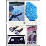 Microfiber Glove For Home / Car Cleaning  + Vent Clip  AC Vent Car Air Freshener / Perfume
