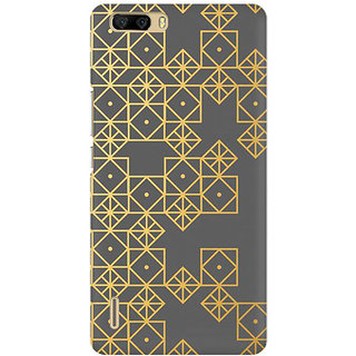 RAYITE Gold Geometric Pattern Premium Printed Mobile Back Case Cover For Huawei Honor 6 Plus