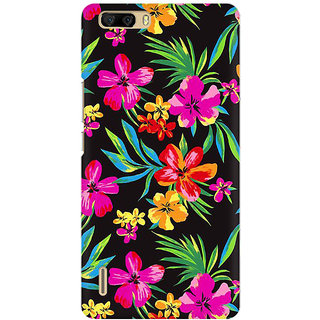 RAYITE Dark Watercolor Floral Premium Printed Mobile Back Case Cover For Huawei Honor 6 Plus