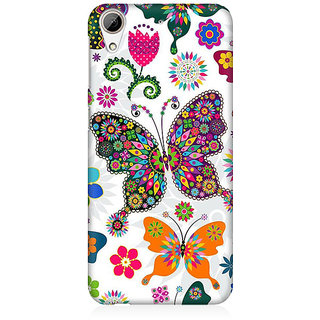 RAYITE Colourful Butterfly Premium Printed Mobile Back Case Cover For HTC Desire 626