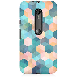 RAYITE Hexagon Pattern Premium Printed Mobile Back Case Cover For Moto X Force